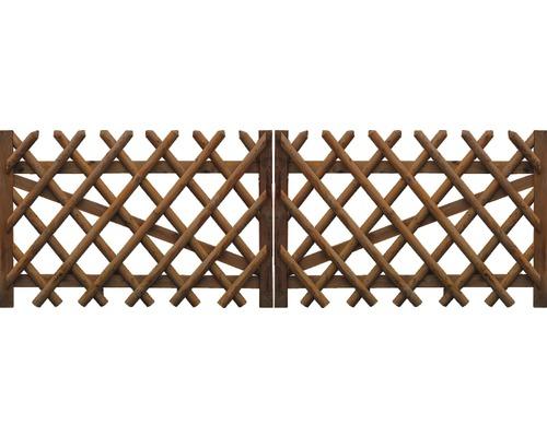 Portail double, clôture croisée 300x59 cm, traitée en autoclave par imprégnation