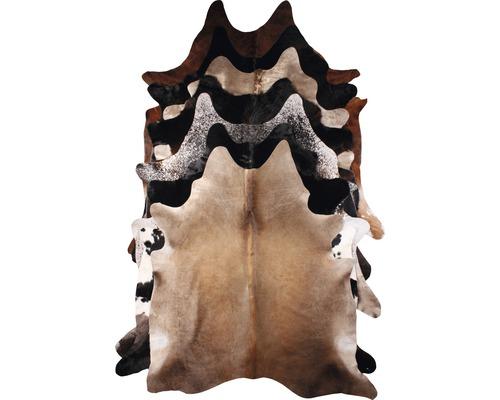 Peau de taureau 2-3 m² (env. 1.5x2 m) noir-blanc-brun