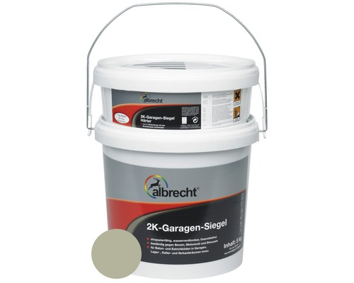 Couche d''étanchéité pour garage à 2 composants Albrecht RAL 7032 gris silex brillant 5kg