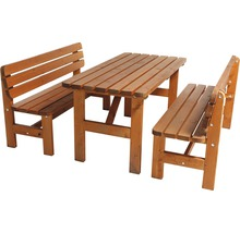 Gartenmöbel-Set Wien Holz 4-Sitzer 3-teilig Kiefer honigbraun gebeizt-thumb-0