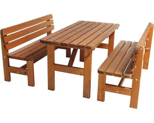 Gartenmöbel-Set Wien Holz 4-Sitzer 3-teilig Kiefer honigbraun gebeizt-0