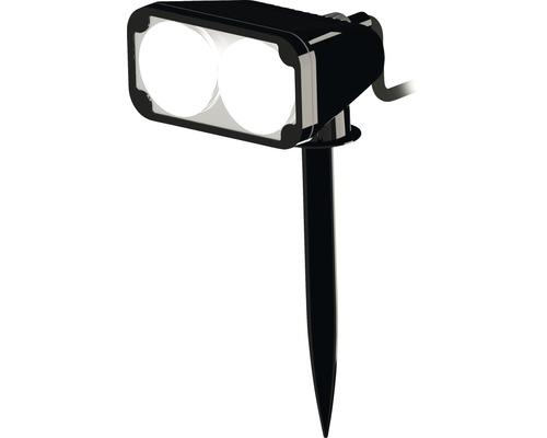 Projecteur extérieur LED 2x3W 2x200 lm 3000 K blanc chaud H 180 mm avec piquet de terre, noir