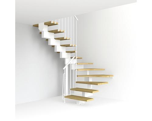 Escalier à crémaillère Pertura Aliki Oak U 11 marches l 70cm blanc/clair