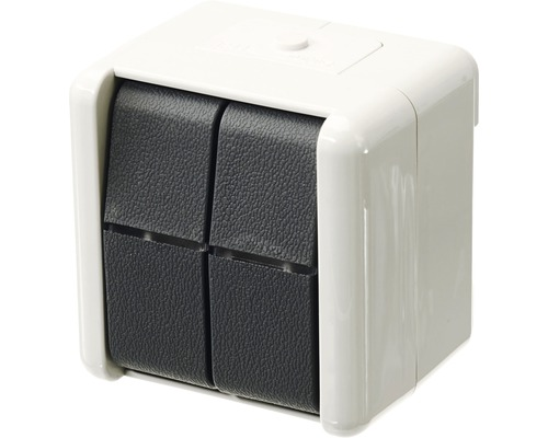 Interrupteur de série en saillie pour pièce humide Jung 805 W gris clair/gris foncé