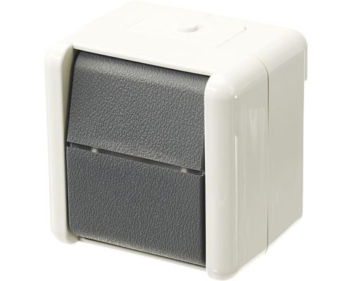 Interrupteur/inverseur en saillie pour pièce humide Jung 806 W gris clair/gris foncé