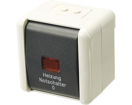 Interrupteur de chauffage 2 pôles en saillie pour pièce humide Jung 802HW gris clair/gris foncé