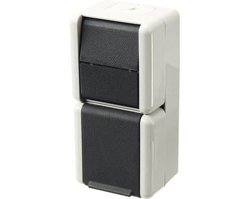 Combinaison prise de courant/inverseur en saillie pour pièce humide Jung 876 W gris clair/gris foncé