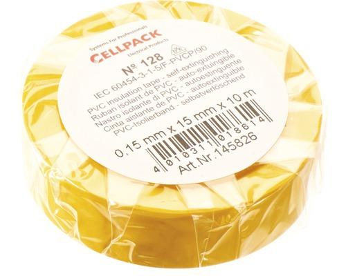 Ruban isolant PVC jaune 15 mm x L 10 m Cellpack