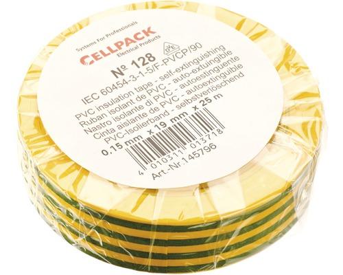 Ruban isolant PVC vert/jaune 19 mm x L 25 m Cellpack