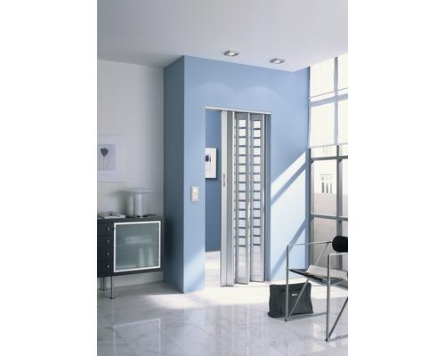 Porte accordéon Marley New Generation aluminium/verre carreaux blancs satinés