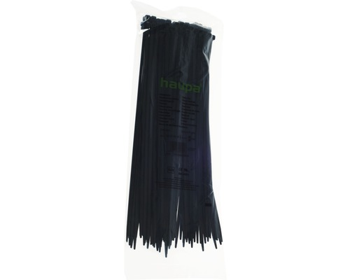 Collier plastique résistant aux UV noir 310x4.8 mm 100 pièces Haupa