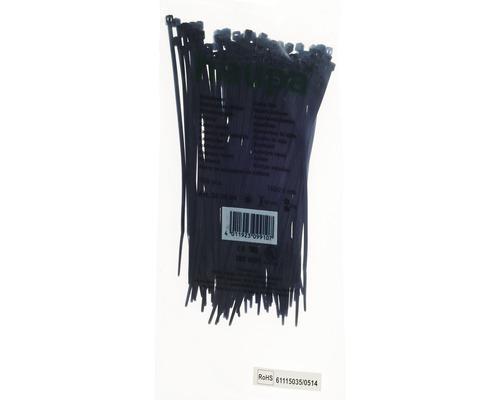Collier plastique résistant aux UV noir 142x2.5 mm 100 pièces Haupa