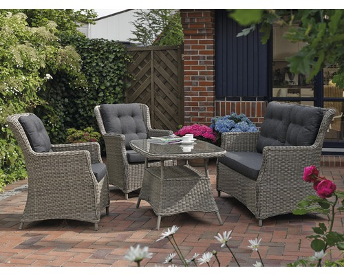 set de meubles de jardin destiny casa polyrattan quatre places 4 pi ces gris hornbach luxembourg. Black Bedroom Furniture Sets. Home Design Ideas