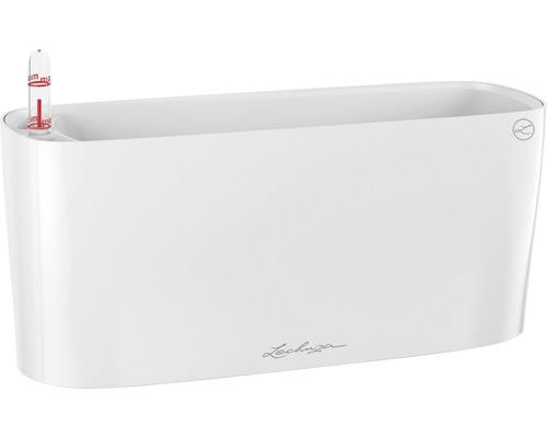 Jardinière Lechuza Delta plastique 11x30x13 cm blanc avec système d''arrosage en terre et indicateur de niveau d''eau