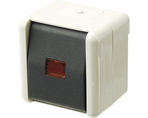Interrupteur de commande/inverseur en saillie pour pièce humide Jung 806KOW gris clair/gris foncé