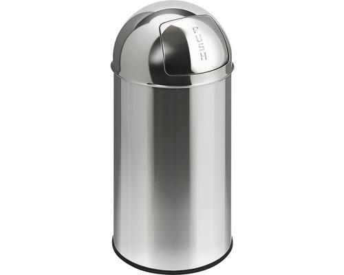Poubelle à couvercle basculant Pushcan 40 Liter mat chrome