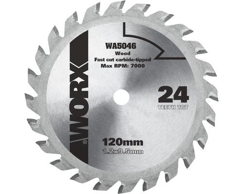 Lame de scie circulaire Ø 120 x 9,5mm Worx Z 24 dents W