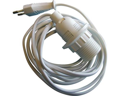 Lampenfassung E14 Kunststoff mit Steckerzuleitung 3m weiß