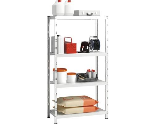 Kit d''étagères à emboîter Vario 1000x2000x500mm galvanisées, 4 tablettes