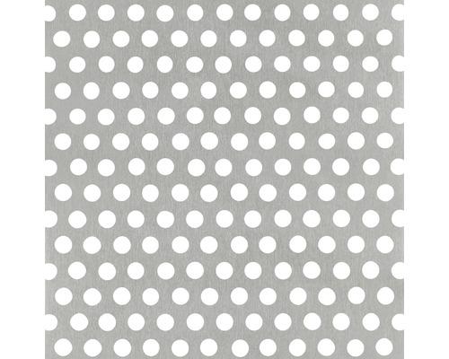 Tôle perforée aluminium argenté 250x500x0,8 mm perforation ronde