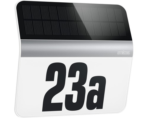 Numéro de maison lumineux solaire à LED Steinel 4.000 K blanc neutre 227x242 mm Xsolar blanc/acier inoxydable