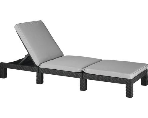 Transat de jardin Allibert Daytona rotin synthétique avec galette d''assise gris anthracite