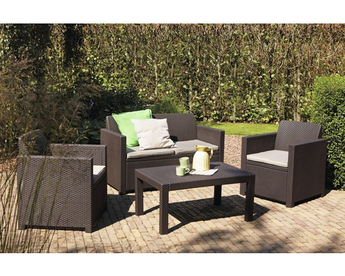 Set de meubles de salon de jardin Jardin Merano rotin synthétique quatre  places 4 pièces brun