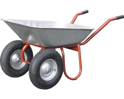 Brouette 2 roues CAPITO DUO 85 litres, cuve plate, pneus avec bague d''arrêt et jante en acier, poignées ergonomiques en bois de hêtre inclus