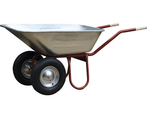 CAPITO Zweiradkarre DUO 120 Liter Großmulde, Lufträder mit Blockprofil und Stahlfelge inkl. ergonomische Buchenholzgriffe