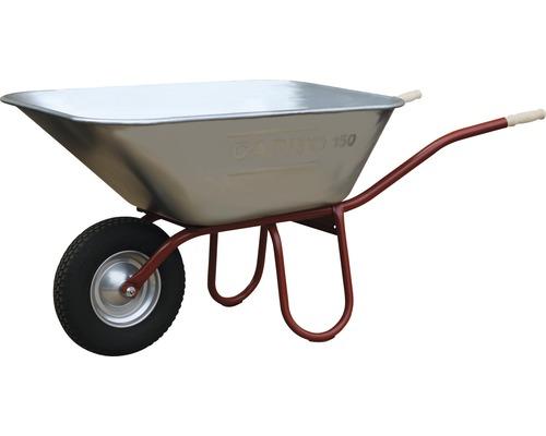 Brouette Pro CAPITO PRAKTICA 150 litres, cuve jumbo, pneus polypropylène avec remplissage en mousse, bague d''arrêt et jante en acier, poignées ergonomiques en bois de hêtre inclus