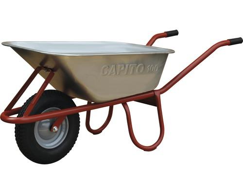 Brouette CAPITO standard ALLCAR 100 litres cuve profonde, roues en caoutchouc avec bague d''arrêt et jante en acier, poignées en plastique inclus