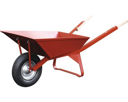 Brouette de chantier Pro CAPITO WEK 85 litres, caisse soudée, roues en caoutchouc avec jante en acier, avec poignées ergonomiques en bois de hêtre