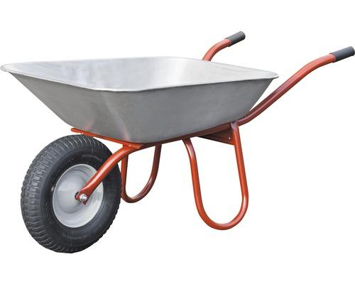 Brouette Pro CAPITO CARRY 85 litres, cuve plate, pneus avec bague d''arrêt et jantes en acier, poignées en plastique inclus