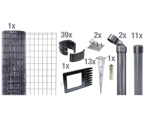 Kit clôture complète Fix-Clip Pro®, pour douille, 25 x 0,81 m, anthracite
