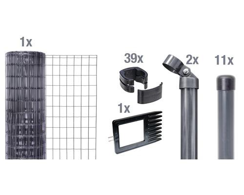 Kit clôture complète Fix-Clip Pro®, à sceller dans le béton, 25 x 1,02 m, anthracite