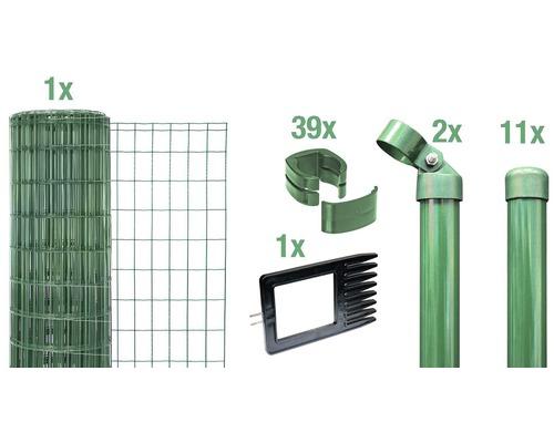 Kit clôture complète Fix-Clip Pro®, à sceller dans le béton, 25 x 1,22 m, vert