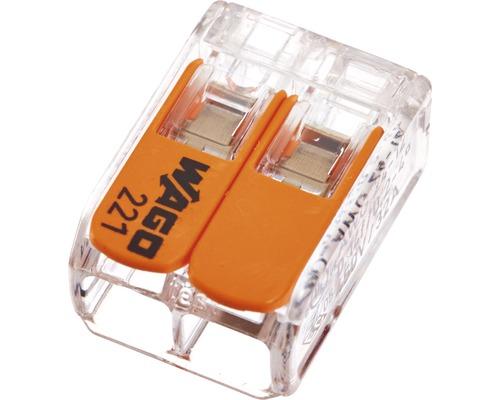 Borne de raccordement Wago 221-412 Compact 4 mm² 2 conducteurs tous types de connecteur 100 pièces 0,2 - 4 mm²