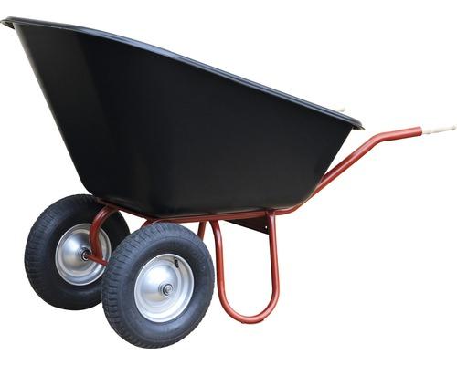 Brouette 2 roues CAPITO DUO 200 litres, cuve jumbo polypropylène, pneus avec bague d''arrêt et jante en acier, poignées ergonomiques en bois de hêtre inclus