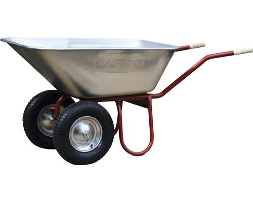 CAPITO Zweiradkarre DUO 150 Liter Jumbomulde, Lufträder mit Blockprofil und Stahlfelge inkl. ergonomische Buchenholzgriffe