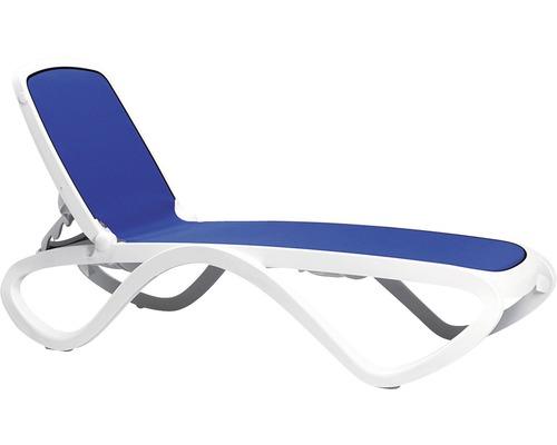 Chaise longue de jardin Nardi Omega rotin synthétique, blanc-bleu ...