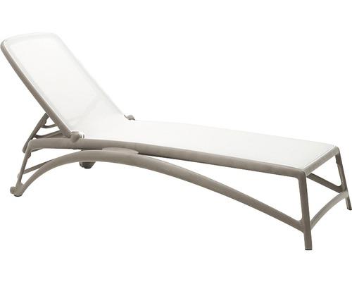 Chaise longue de jardin Nardi Atlantico tissu textile, taupe-blanc ...