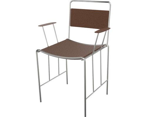 Chaise de bistrot Corio, cuir synthétique et acier inoxydable, marron