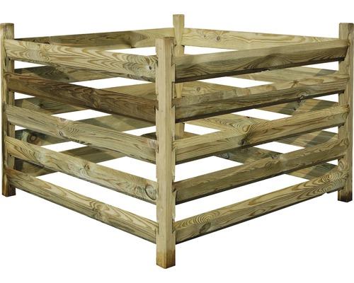 Composteur avec poteaux d''angle 100x100x70cm traité en autoclave par imprégnation sans chrome