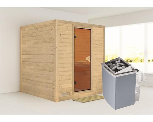 Sauna en bois massif Karibu Wojave avec poêle 9 kW et commande intégrée, sans frise de toit