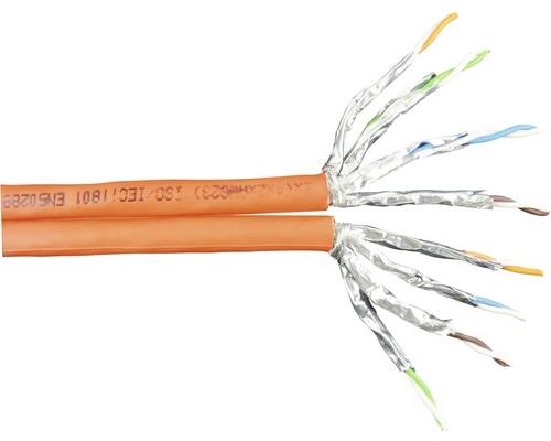 Câble de données CAT 7 câble Duplex 2x (4x2xAWG23/1) orange au mètre