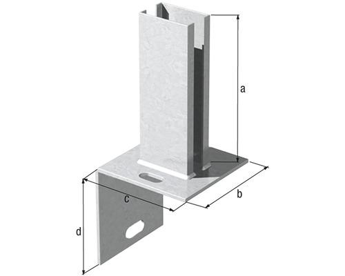 Pied de poteau en L pour tube profilé 60x40mm