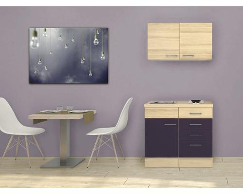 Mini-cuisine Focus 100 cm décor acacia avec appareils encastrés