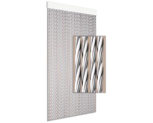 Rideau de porte Dara gris-blanc 90x210 cm
