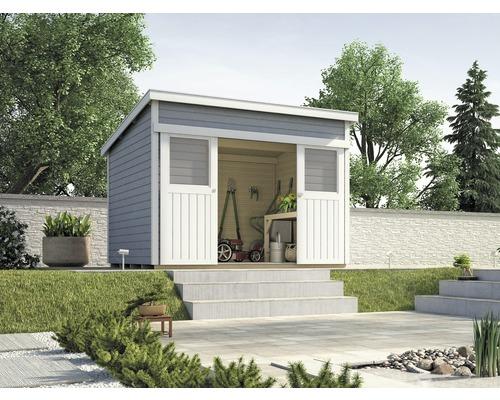 Abri de jardin à porte coulissante weka Lugano 3, avec plancher, 295x299cm, gris
