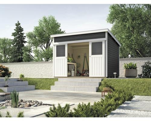 Abri de jardin à porte coulissante weka Lugano 3, avec plancher, 295x299  cm, anthracite